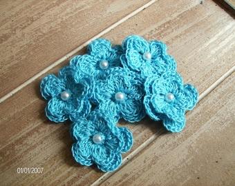 Crochet Flower Appliques set of 6 in Caribbean Blue