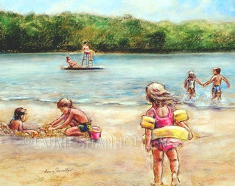 """Beach children playing - ORIGINAL pastel painting - Childhood Days at the Lake"""" Laurie Shanholtzer 18x22"""