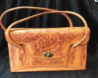 Tooled Leather Box Purse
