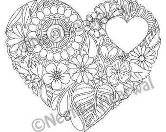 Heart with Message Heart - Valentine - Adult Coloring Page - Valentine's Day Coloring Page - Printable Coloring Page - Digital Download