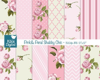 Pink and Pearl Shabby Chic Digital Papers - Digital Scrapbooking Papers - card design, invitations, background - INSTANT DOWNLOAD