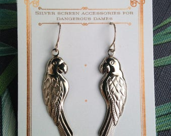 Tropical parrot silvertone charm earrings