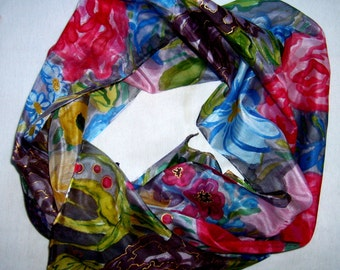 Hand Painted 100% silk batik scarf  flowers in the garden