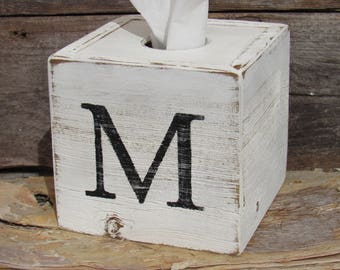 Personalized Tissue Box Cover Square Monogrammed Handmade Reclaimed Wood Bathroom Farmhouse Home Decor Free Shipping