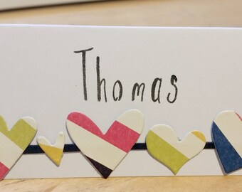 5/pack-Handmade Heart Boarder Place Card
