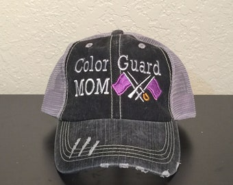 Color Guard Mom with Flags Monogrammed Embroidered Trucker Cap Dark Gray