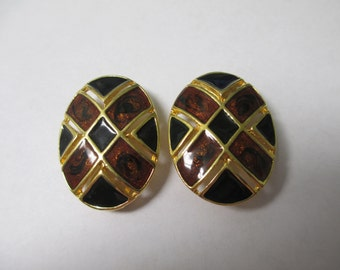 Vintage Signed Premier clip on  enameled earrings,gold toned oval metal with copper and black enamel,