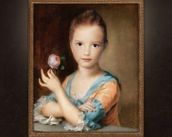 Custom Child Portrait, Custom Child Painting, Victorian Girl Portrait, portrait from photo, free shipping!