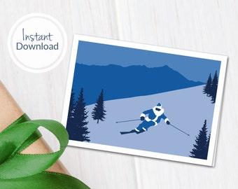 Printable Ski Christmas Card ~ Downloadable Ski Greeting Card ~ Santa Skiing ~ Gift for Skier ~ Gift for Snowboarder ~ Ski Gift ~ Ski Card