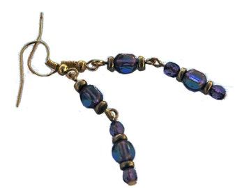 Violet and Gold Czech Glass Bead Earrings, Purple and Gold  Dangle Earrings