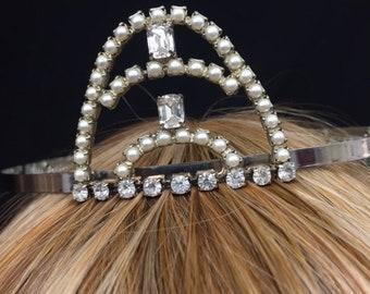 Vintage Pearl and Rhinestone Arch Tiara w/ Stunning Rhinestone & Pearl Detail! Wear At A Wedding, Prom, Sweet 16,  Quinceanera!