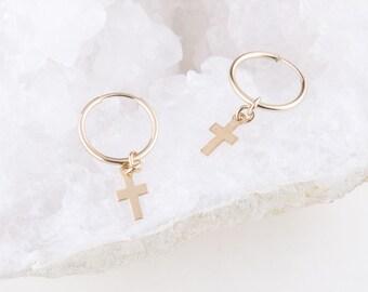 Tiny Cross Hoops, Gold Cross Hoop Earrings, Gift for Her, Dainty Cross Earrings, Everyday Earrings, Hoop Earrings, Cross Dangle Hoops