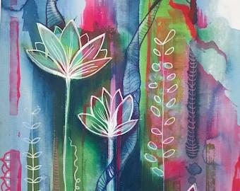 Art print Abstract Contemporary Magenta Indigo mixed media ink pencil drawing