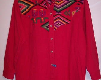 Sherry Holt Shirt L Red Aztec Western Desert West Cotton Rodeo Cowgirl Large