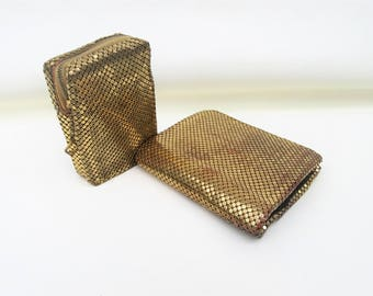 Vintage Whiting Davis Purses | Mesh Purses | Gold Mesh Wallet | Cigarette Case | Whiting and Davis Bags – Lot of 2 – As Is
