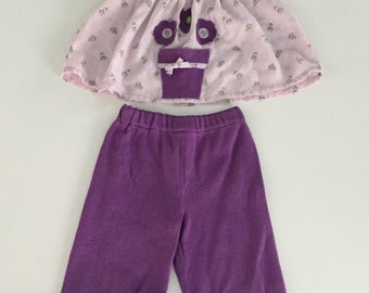 Vintage Handmade Purple Floral Shirt and Pants Set 6-12 months