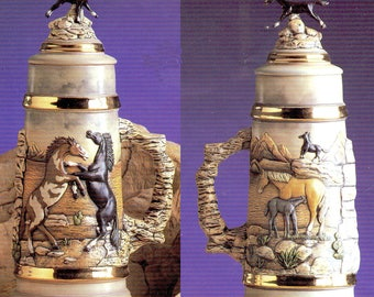 Ceramic Bisque U-Paint Mustang - Wild Horses Stein With Lid Unpainted Ready To Paint DIY Nature Wildlife