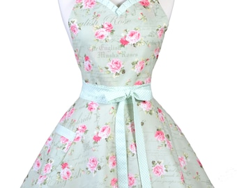 Sweetheart Flirty Womens Retro Apron in Sexy Sage Green Pink Rose Floral Pinup Kitchen Apron with Pocket and Personalize Option