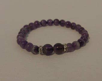 Womens February Birthstone Amethyst Stretch Bracelet