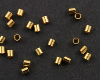 24K Gold Vermeil over Sterling Silver Crimp Bead 2x2 mm,  1 Pack of 100 Pieces,   (VM/752/2x2)
