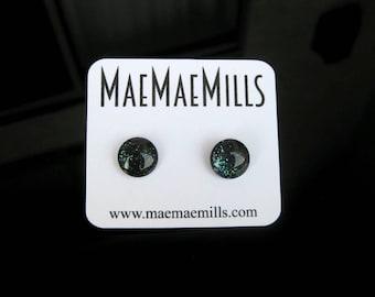 Black with Iridescent Glitter Petite Glass Earrings