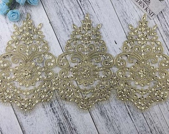 18cm Width Gold Color Sequin Embroidery Lace Trim for Dress