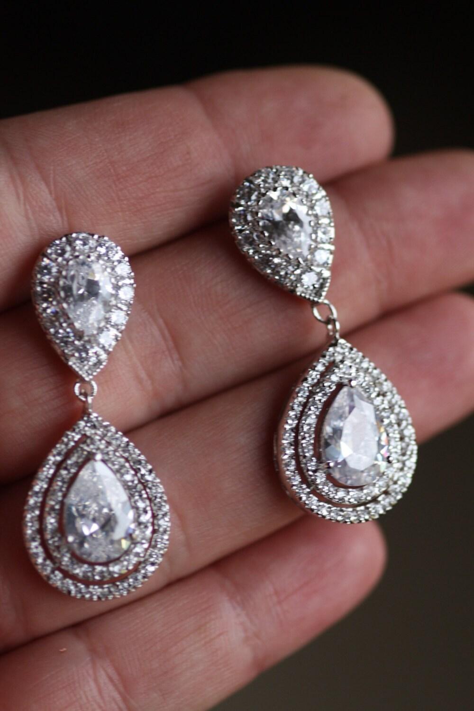 Bridal earrings wedding swarovski crystal chandelier zoom arubaitofo Gallery