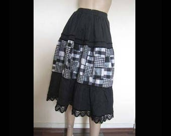 Vintage 80s silk skirt silk skirt with lace lace L