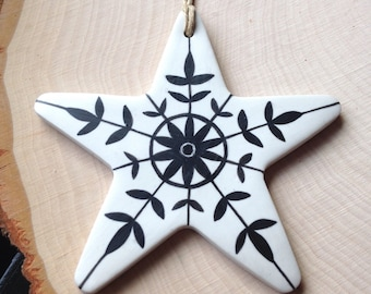 Star Ornament, Snowflake Ornament, Polymer Clay Ornament, Tree Ornament, Christmas Ornament, Gift for Her, Co-worker Gift, Gift for Women