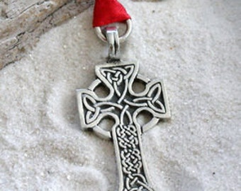 Pewter Celtic Cross Irish Triquetra Knots Christmas Ornament and Holiday Decoration (35C)