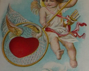 Cupid Catching a Winged Heart With Net Antique Valentine Postcard