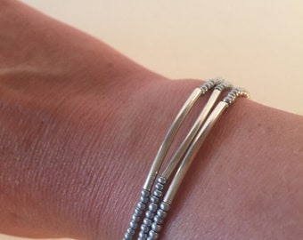 Bridesmaid gifts,silver,stretchy,curved bars,simple bracelets,dainty bracelet,set of three,delicate bracelet,silver jewelry,gift for her