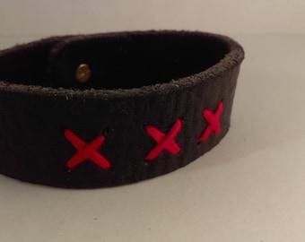 Black Bull Hide Leather Bracelet w/ Stud Closure