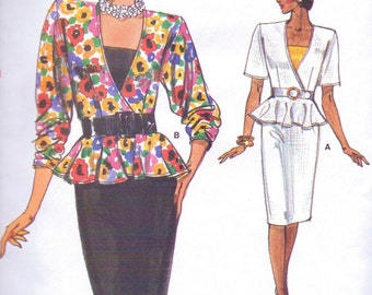 80s Womens Peplum Top, Camisole & Skirt Vogue Sewing Pattern 9484 Size 8 10 12 Bust 31 1/2 to 34 UnCut Very Easy Very Vogue Pattern