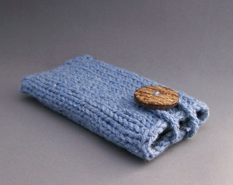 Mobile Accessory, Cell Phone Case, Gadget Sleeve, iPhones or Samsung Galaxy, - Handknit Denim Blue with Coconut Button crochet loop