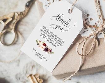 Wedding Favor Tags Printable, Marsala Favor tag, Thank you card, Wedding Gift Bag Tags, Wedding Tags, PDF Instant Download
