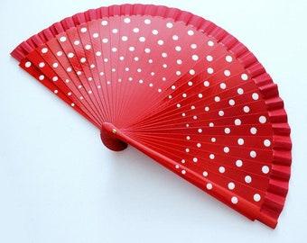 Hand Fans, wedding fan, Abanico, Rockabilly-fan in red-white dots