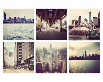 Chicago photograph set, Chicago artwork, neutral colors, Chicago photography, Chicago prints, set of 6, square photos