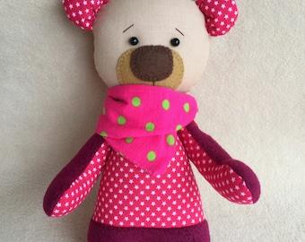 Handmade Teddy Bear, Vinous Teddy Bear, Sewn Teddy Bear, Handmade Toys, Plush Teddy bear, One of a kind Teddy Bear