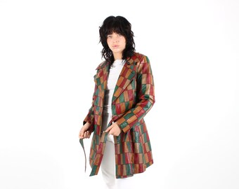 70s Rainbow Leather PATCHWORK A-Line Swing Trench Coat / Jacket - Unisex