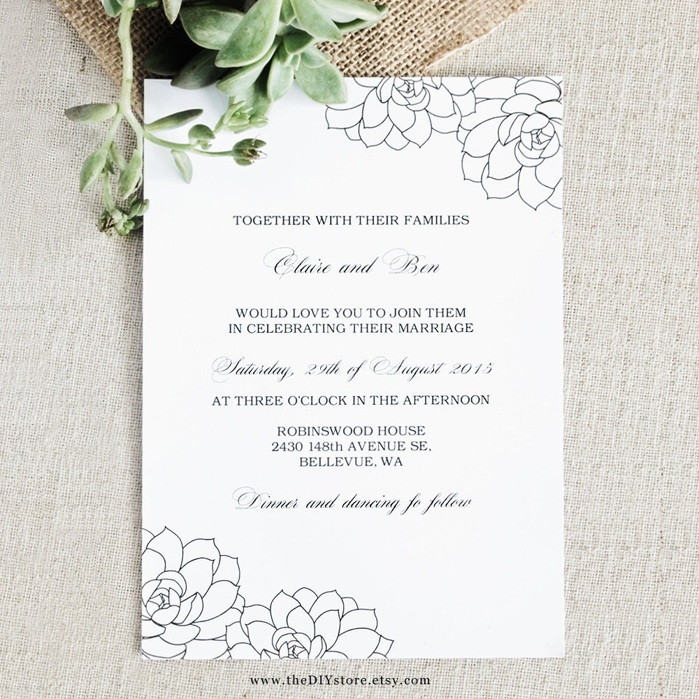 Succulent Wedding Invitation DIY Digital Printable 100% Text