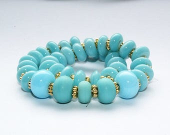 Lampwork beads, glass beads, artist beads, light blue with gold spacer, pearlset, Lampwork beads, ceramic discs