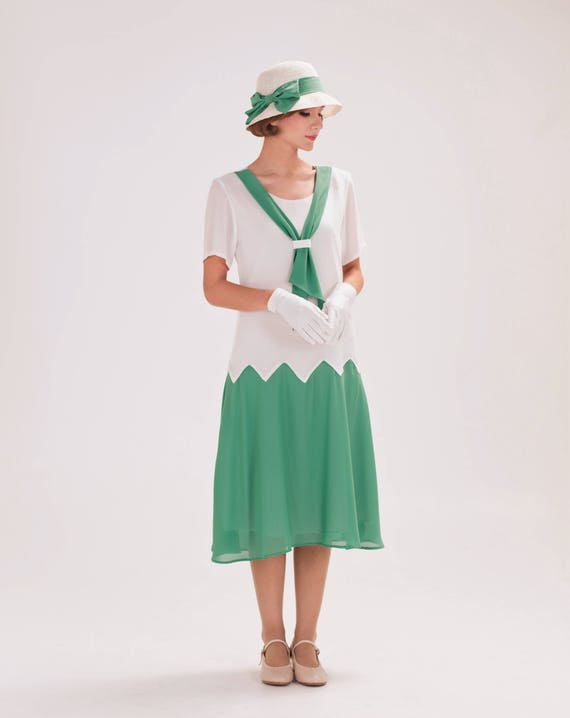 1920s Day Dresses, Tea Dresses, Mature Dresses with Sleeves 1920s zig zag dress in off-white and sea green $130.00 AT vintagedancer.com