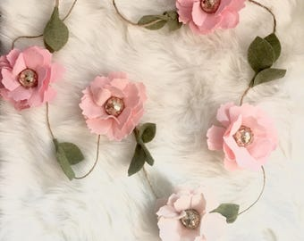 Pink flower garland etsy blush pink flower garland mightylinksfo