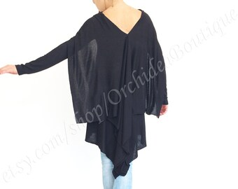 WING black Tunics minimalist cotton blouse top shirt sweater long sleeves women fall winter fashion