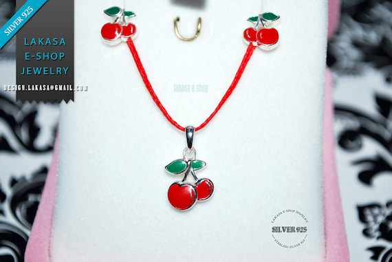 Best Price Set Jewelry Necklace Earrings Sweet Cherry Red Enamel Sterling Silver White Goldplated Girl School Moda Kids Collection OFFER
