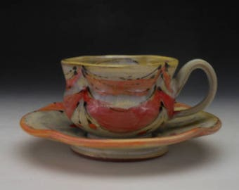 Teacup and Saucer in Melon for hot tea, hot chocolate, espresso, coffee, etc
