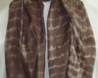 Marbled Brown and beige color cotton printed scarf