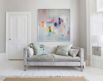 "large ABSTRACT Print of Painting, Giclée print with pink, blue, beige, yellow,  ""Glitterati"""