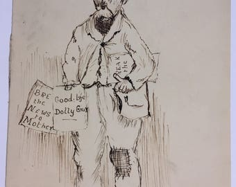 "Antique signed original pen and ink portrait of a man ""A Scene in Market St"""
